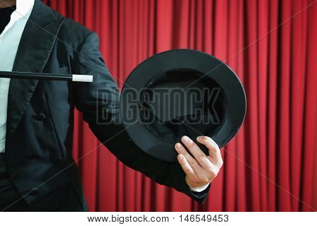 Magician Showing Empty Top Hat