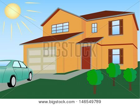 Residential house in bright colors with the car and lawn vector illustration