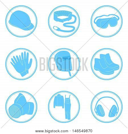 Set of icons personal protective equipment vector illustration in blue