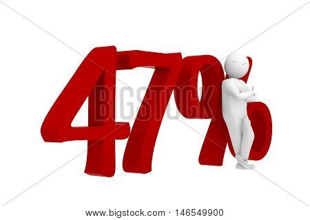3D Human Leans Against A Red 47%