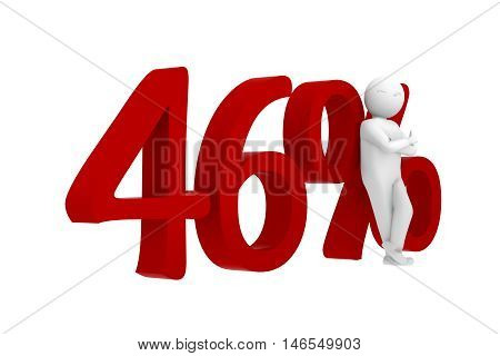 3D Human Leans Against A Red 46%