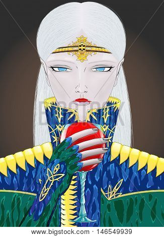 Anime style blonde vampire girl character on dark background.
