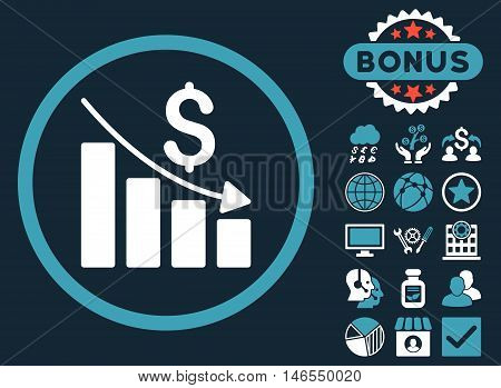 Recession Chart icon with bonus. Vector illustration style is flat iconic bicolor symbols, blue and white colors, dark blue background.