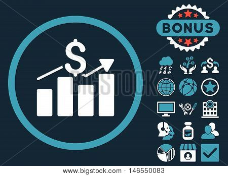 Sales Chart icon with bonus. Vector illustration style is flat iconic bicolor symbols, blue and white colors, dark blue background.