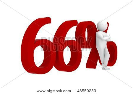 3D Human Leans Against A Red 66%