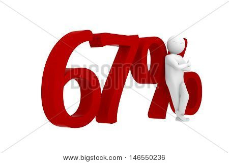 3D Human Leans Against A Red 67%