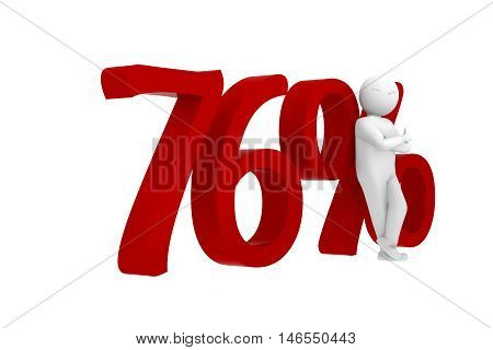 3D Human Leans Against A Red 76%