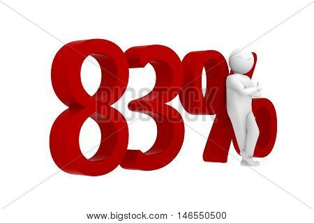 3D Human Leans Against A Red 83%