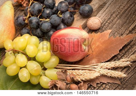 Healty diet (food) - Fresh organic seasonal autumn fruit on rustic wooden table