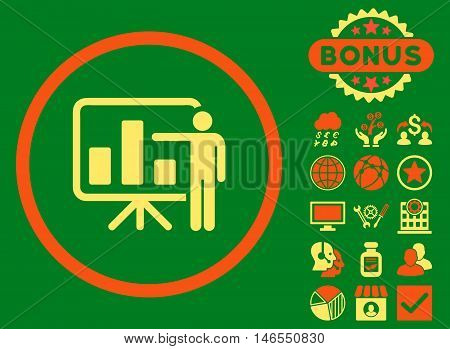 Bar Chart Presentation icon with bonus. Vector illustration style is flat iconic bicolor symbols, orange and yellow colors, green background.