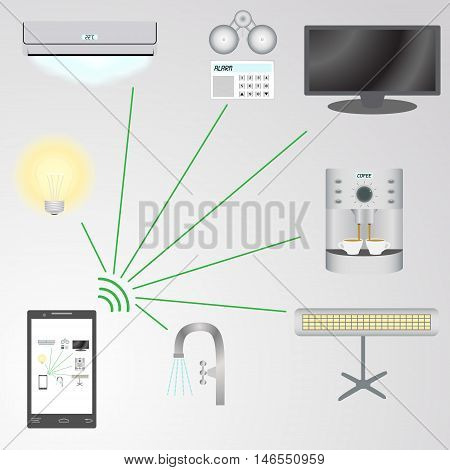 Abstract image of a smart house control system using a mobile phone vector illustration