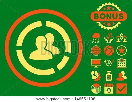 Demography Diagram icon with bonus. Vector illustration style is flat iconic bicolor symbols, orange and yellow colors, green background.