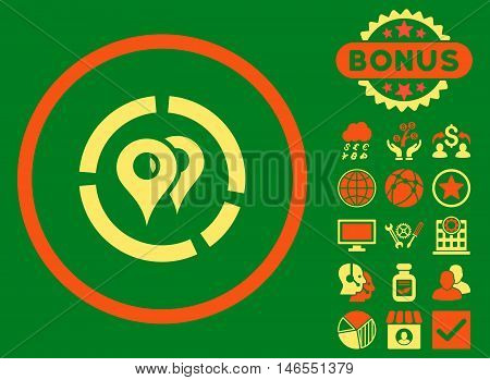 Geo Diagram icon with bonus. Vector illustration style is flat iconic bicolor symbols, orange and yellow colors, green background.