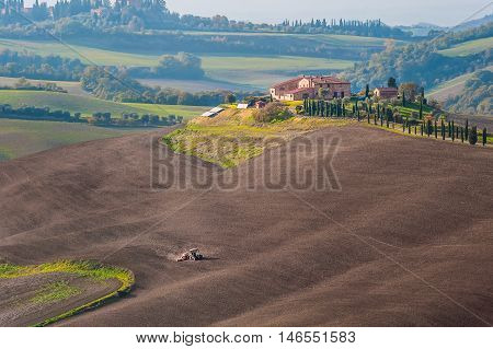 Rural Landscape With Tractor