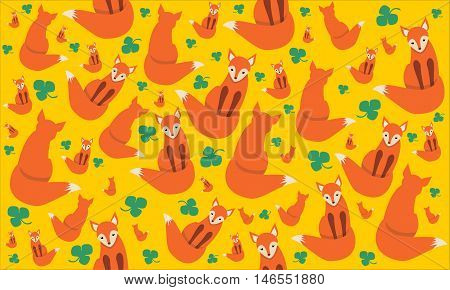cute red fox on yellow background with clever