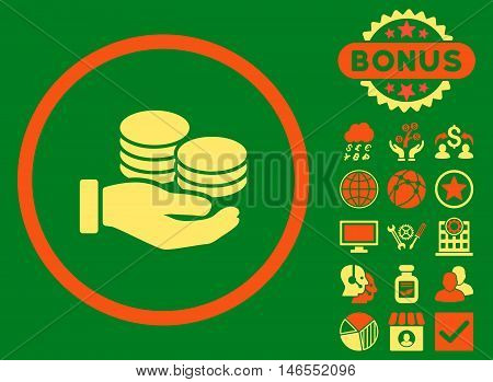 Salary Coins icon with bonus. Vector illustration style is flat iconic bicolor symbols, orange and yellow colors, green background.