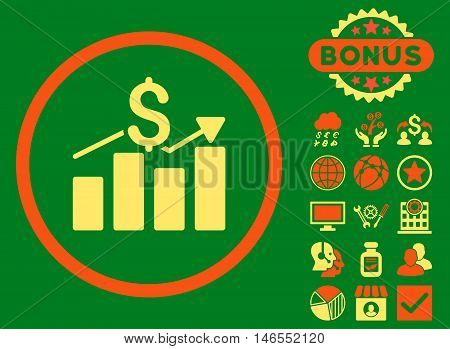 Sales Chart icon with bonus. Vector illustration style is flat iconic bicolor symbols, orange and yellow colors, green background.