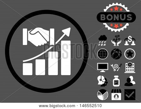 Acquisition Growth icon with bonus. Vector illustration style is flat iconic bicolor symbols, black and white colors, gray background.