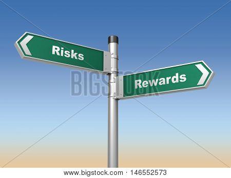 risks rewards road sign 3d concept illustration on sky background