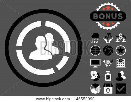 Demography Diagram icon with bonus. Vector illustration style is flat iconic bicolor symbols, black and white colors, gray background.
