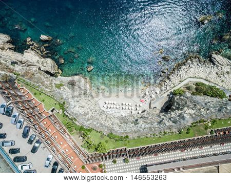 Top view of a Cave beach in Taormina, Sicily, Italy