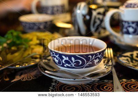Uzbek tea in the national traditional restaurant.