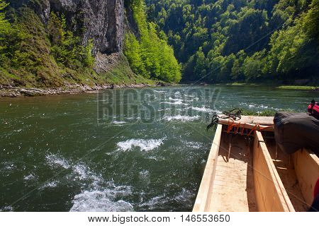 Spring rafting on the Dunajec river in Pieniny National Park in Slovakia and Poland.