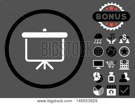Projection Board icon with bonus. Vector illustration style is flat iconic bicolor symbols, black and white colors, gray background.