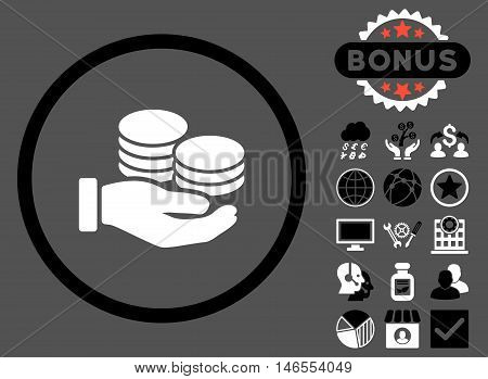 Salary Coins icon with bonus. Vector illustration style is flat iconic bicolor symbols, black and white colors, gray background.