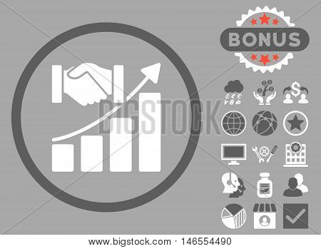 Acquisition Growth icon with bonus. Vector illustration style is flat iconic bicolor symbols, dark gray and white colors, silver background.