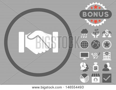 Acquisition Handshake icon with bonus. Vector illustration style is flat iconic bicolor symbols, dark gray and white colors, silver background.