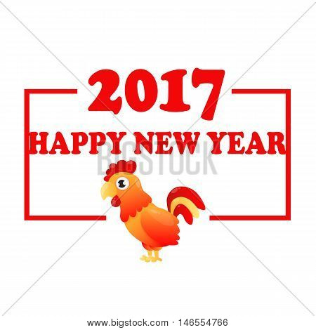 Card Red rooster. Fiery cock. Symbol of 2017 on the Chinese calendar. Vector illustration