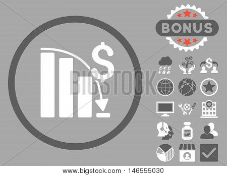 Epic Fail Chart icon with bonus. Vector illustration style is flat iconic bicolor symbols, dark gray and white colors, silver background.