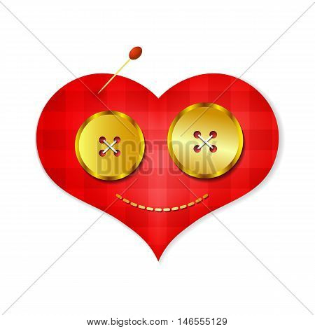Embroidered red heart on a white cloth close up.Gold buttons.
