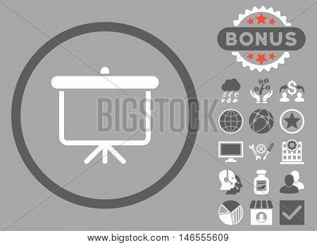 Projection Board icon with bonus. Vector illustration style is flat iconic bicolor symbols, dark gray and white colors, silver background.