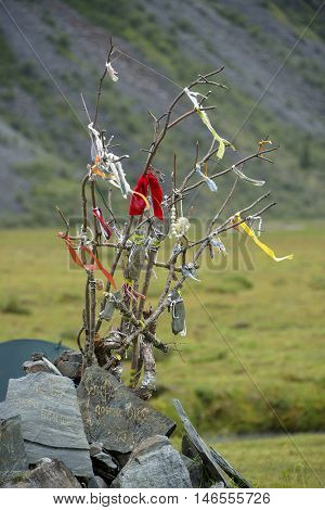 Shamanic gifts in Altai Mountains, Russian Federation