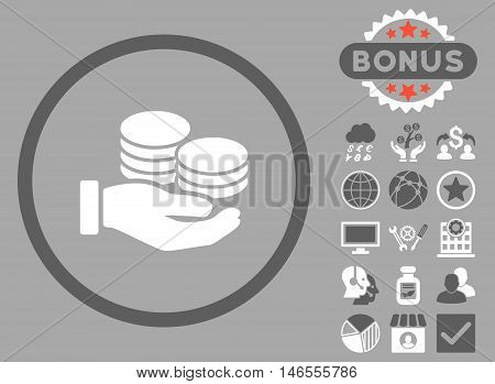 Salary Coins icon with bonus. Vector illustration style is flat iconic bicolor symbols, dark gray and white colors, silver background.