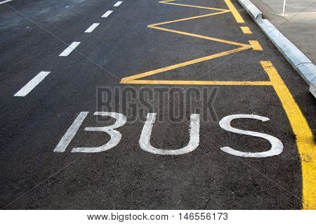 Bus lane sign painted on road. Bus word