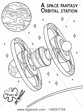 Children's coloring book that says Paint me. Orbital station