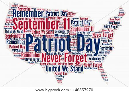 Patriot day, september 11 in USA word cloud