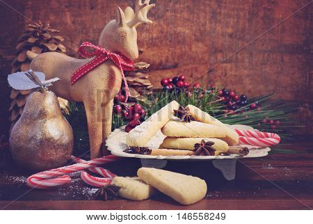 Festive Christmas Holiday Shortbread.