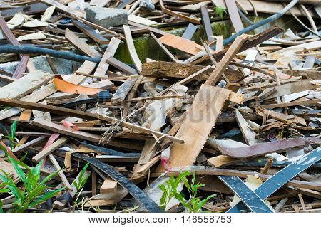 Pile Of Wooden And Metal Scrap