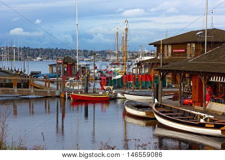 SEATTLE USA - MARCH 22: Center for Wooden Boats on Lake Union on March 22, 2016 in Seattle, WA, USA. Boats rental facilities to paddle on the Lake Union.