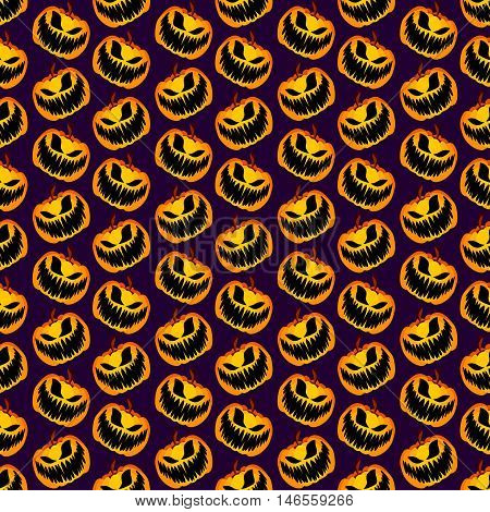 Isolated Vector Yellow Orange Festive Scary and Spooky Halloween Pumpkin on Purple Background, Holiday Seamless Halloween Pattern