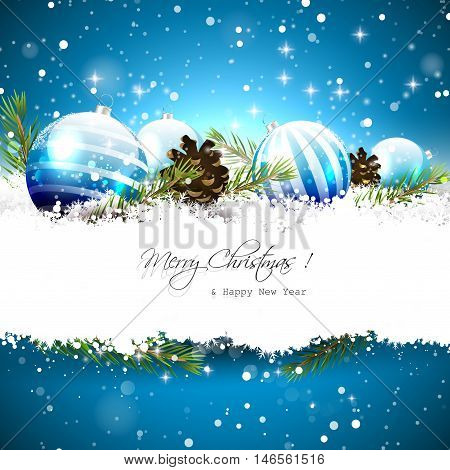 Christmas greeting card with blue baubles branches and pinecones on blue background