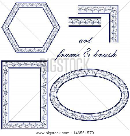 Set of elements of the national style of painting on porcelain. Decorative frames borders and corners for design. Vector illustration