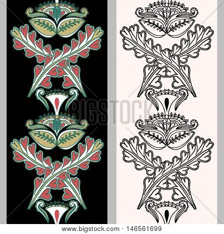 Seamless vertical pattern with Indonesian motifs. Hand drawn mehndi tattoo doodle borders isolated on a black and white background. Vector illustration