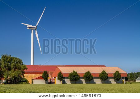 Modern Farm With Wind Turbine