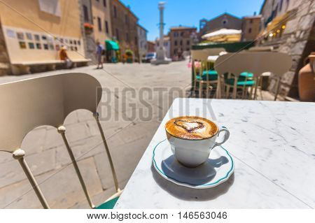 Cup Of Coffee At A Cafe Terrace With Street View, Italy