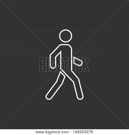 Man walk icon. Dark background. Outline Vector illustration